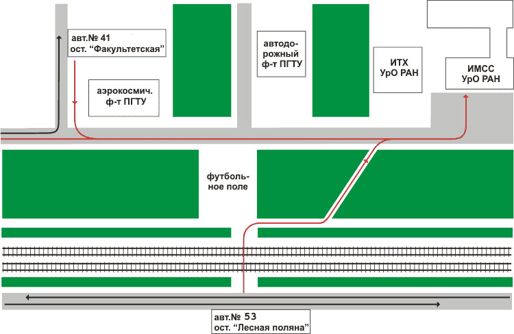 """Доехать до ИМСС можно на автобусе 41 от главного корпуса ПГТУ на Октябрьской площади или от остановки  """"ул..."""